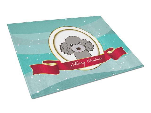 Silver Gray Poodle Merry Christmas Glass Cutting Board Large BB1569LCB