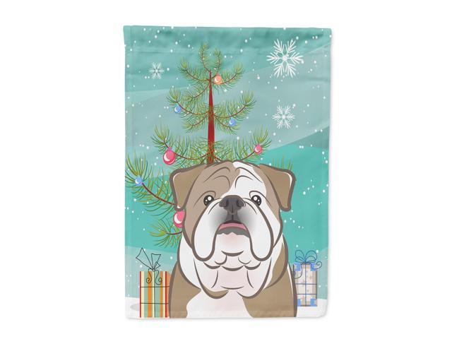 Carolines Treasures BB1591GF Christmas Tree And English Bulldog Flag Garden Size