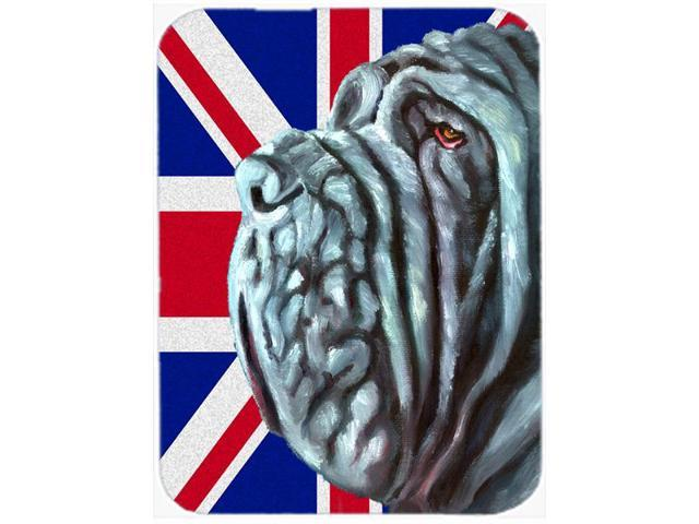 Neapolitan Mastiff with English Union Jack British Flag Glass Cutting Board Large LH9596LCB