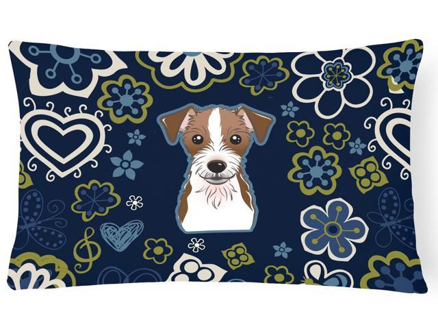 Blue Flowers Jack Russell Terrier Canvas Fabric Decorative Pillow BB5053PW1216