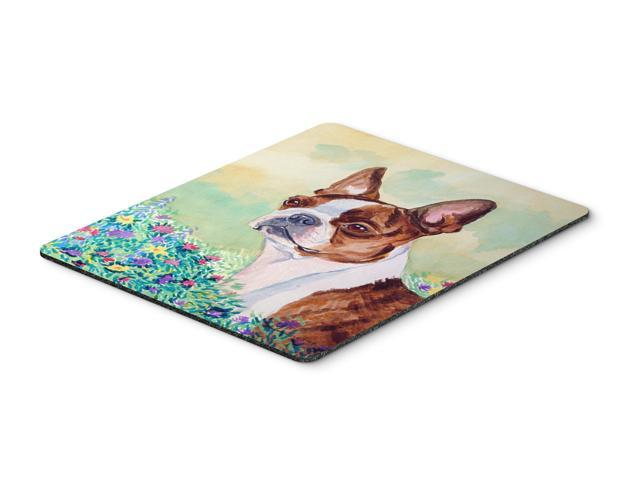 Red and White Boston Terrier Mouse Pad / Hot Pad / Trivet