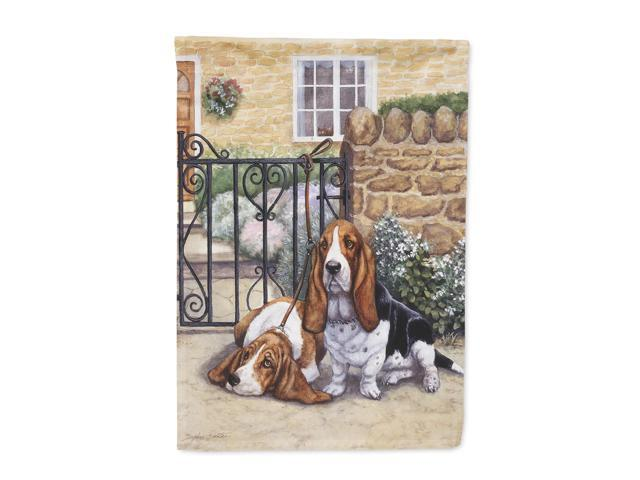 Basset Hound at the gate Flag Canvas House Size BDBA0312CHF