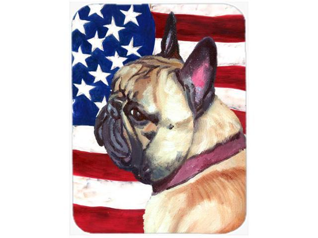 French Bulldog Frenchie USA Patriotic American Flag Glass Cutting Board Large LH9545LCB