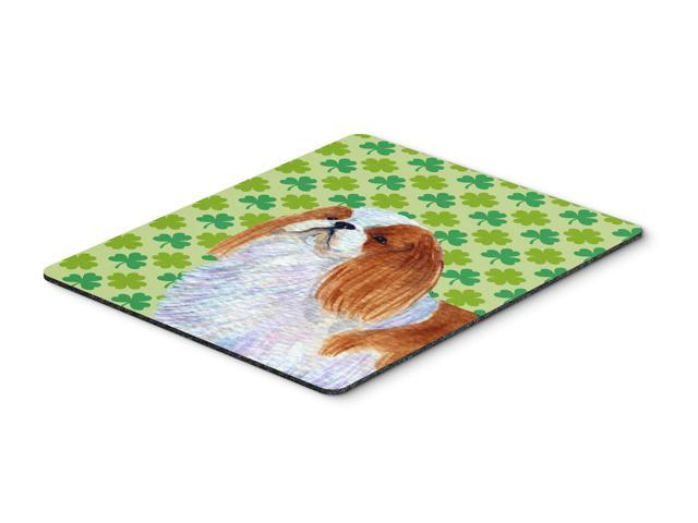 English Toy Spaniel St. Patrick's Day Shamrock Mouse Pad, Hot Pad or Trivet