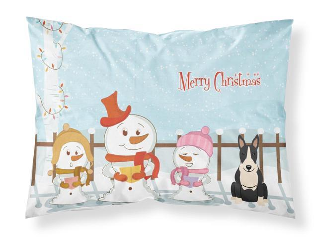 Merry Christmas Carolers Bull Terrier Black White Fabric Standard Pillowcase BB2464PILLOWCASE