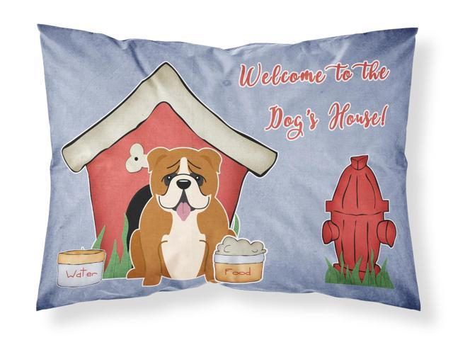 Dog House Collection English Bulldog Red White Fabric Standard Pillowcase BB2874PILLOWCASE