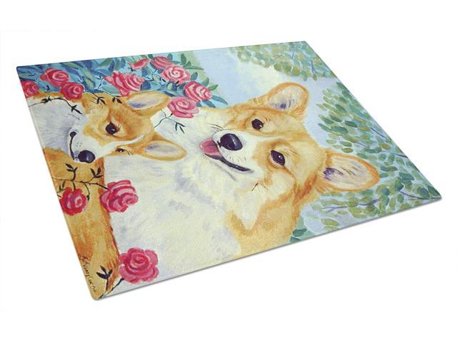 Corgi Momma's Love and Roses Glass Cutting Board Large