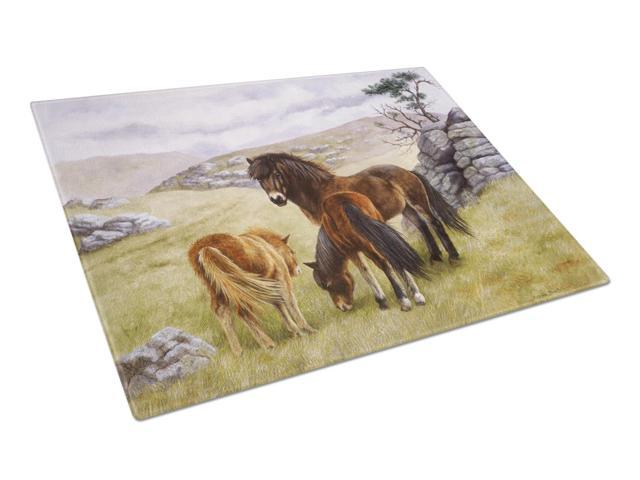 Horses in the Meadow Glass Cutting Board Large BDBA0189LCB