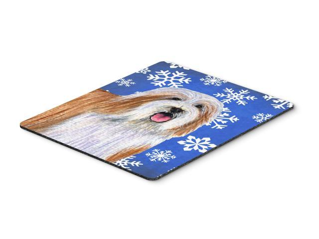 Bearded Collie Winter Snowflakes Holiday Mouse Pad, Hot Pad or Trivet