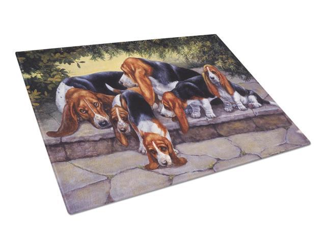 Basset Hound Puppies, Momma and Daddy Glass Cutting Board Large BDBA0276LCB