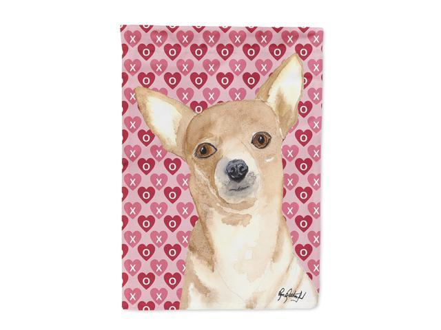 Carolines Treasures RDR3014CHF Chihuahua Love and Hearts Flag Canvas House Size
