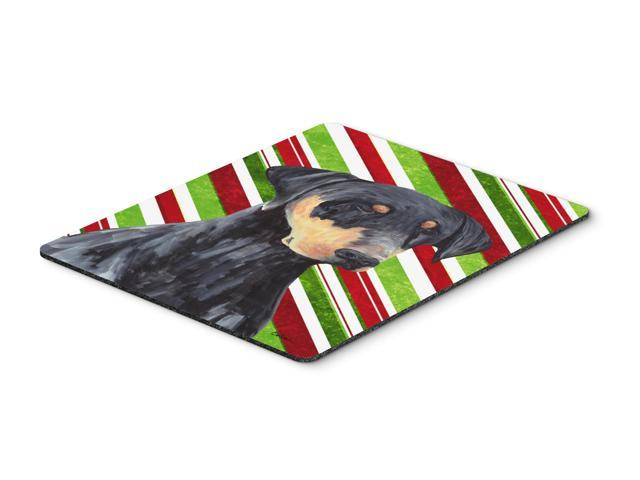 Doberman Candy Cane Holiday Christmas Mouse Pad, Hot Pad or Trivet