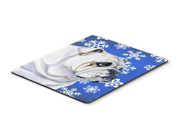 Bulldog English Winter Snowflakes Holiday Mouse Pad, Hot Pad or Trivet