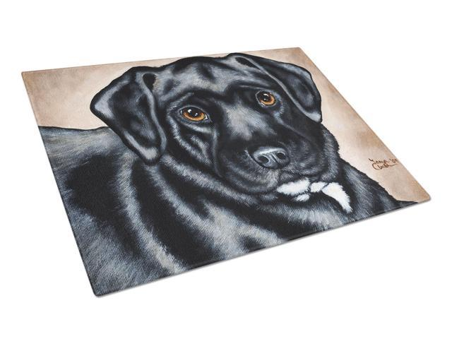 Black Bart the Labrador Glass Cutting Board Large AMB1415LCB