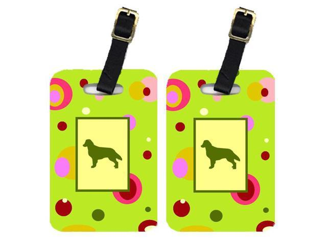 Pair of 2 Flat Coated Retriever Luggage Tags