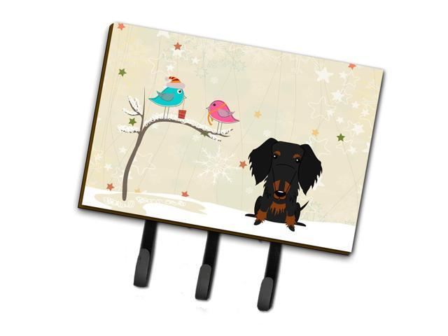 Christmas Presents between Friends Wire Haired Dachshund Black Tan Leash or Key Holder BB2599TH68