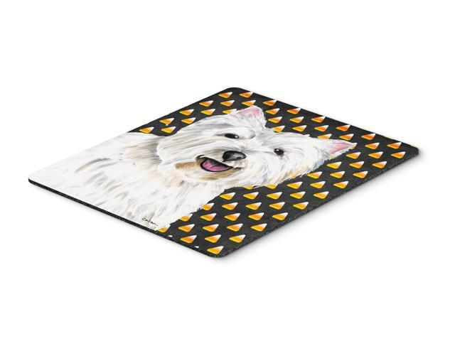 Westie Candy Corn Halloween Portrait Mouse Pad, Hot Pad or Trivet