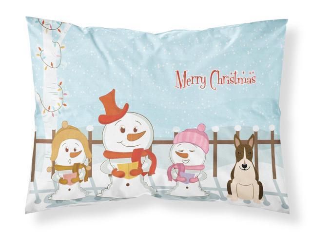Merry Christmas Carolers Bull Terrier Dark Brindle Fabric Standard Pillowcase BB2467PILLOWCASE
