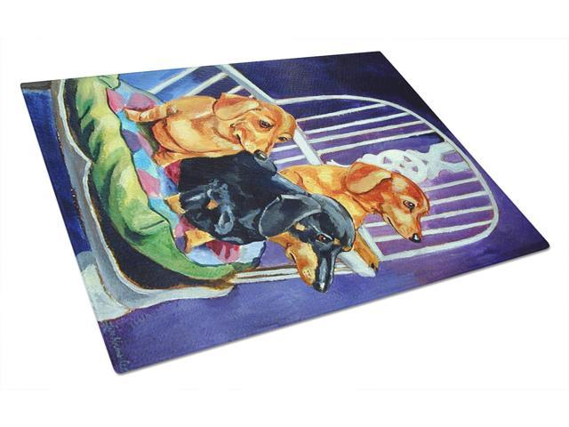 Dachshunds Two Red and a Black and Tan Glass Cutting Board Large