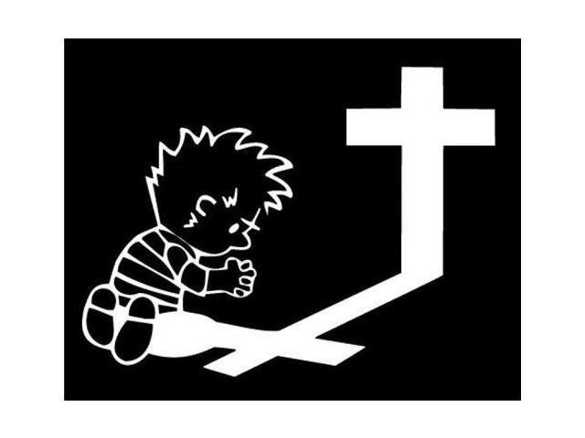 Calvin Praying at Cross Stickers For Cars 5 Inch