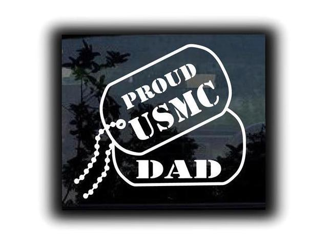 Proud USMC Marines Dad Dog Tags Military Decals 5 Inch