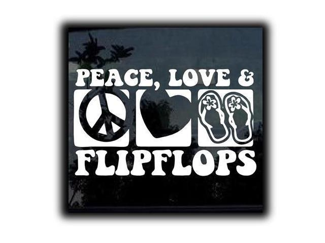 Peace Love and Fliflops Stickers For Cars 7 Inch