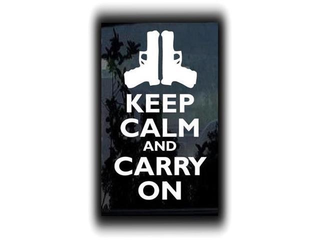 Keep Calm and Carry On Guns Custom Decals 7 Inch