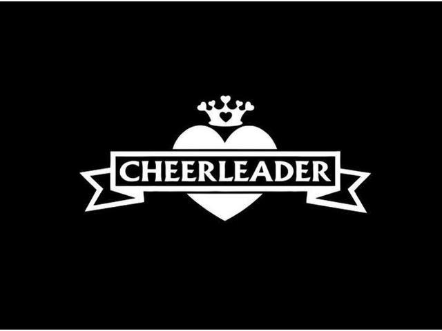 Cheerleader Heart and Crown Custom Decal Sticker 7.5 inch