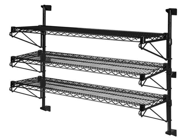 18 deep x 60 wide x 33 high adjustable 3 tier black wall mount shelving kit. Black Bedroom Furniture Sets. Home Design Ideas
