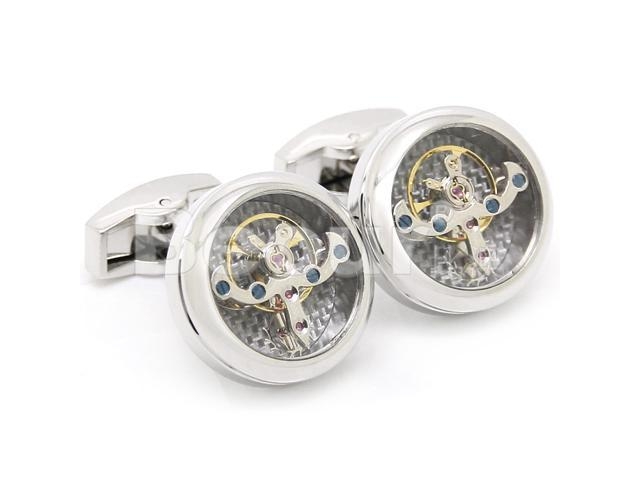 Polished Steel with silver Carbon Fiber Tourbillon Cufflinks(with cufflink box) (Width: 0.79