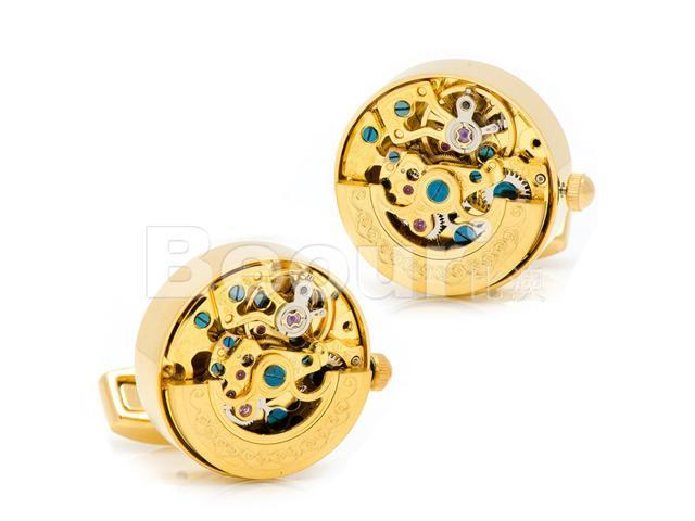 Golden Kinetic Watch Movement Cufflinks with One Brown Cufflinks Box