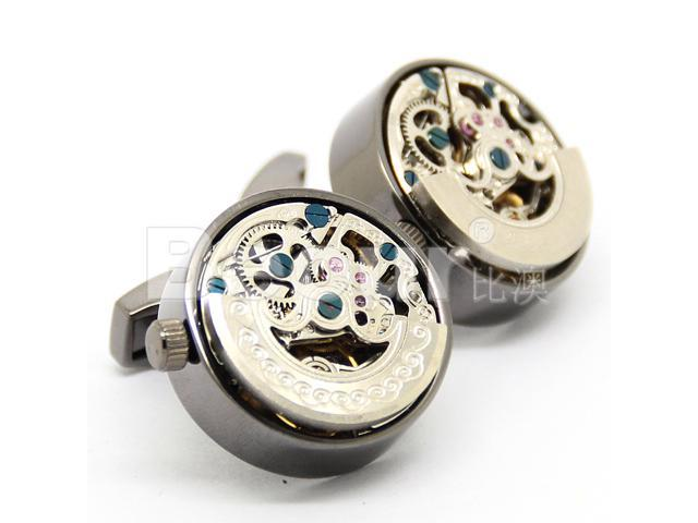 Stainless Steel with Silver Kinetic Black Watch Movement Cufflinks with Brown Cufflink Box