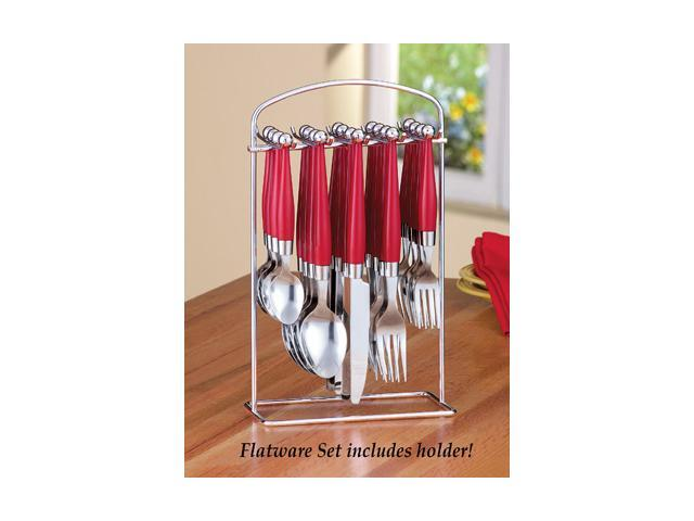 Red flatware set and stand 21 pc - Flatware set with stand ...