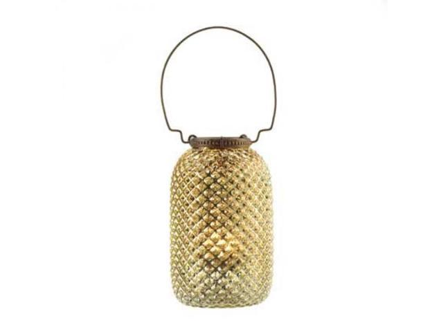 Diamond Pattern Candle Jar - Gold - 6 inches