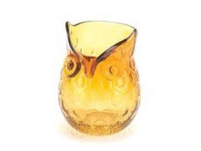 Hand-Crafted Amber Glass Owl Vase