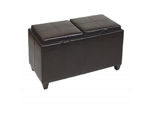 Storage Ottoman in Espresso with Dual Trays & Seat Cushions