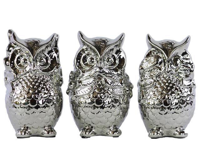Ceramic standing owl no evil hear speak see figurine assortment of three polished chrome - Hear no evil owls ceramic ...