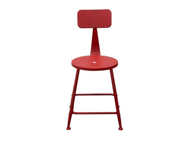 Set of (2) Douglas Vintage Stools in Antique Red Powder Coat Steel by Diamond Sofa