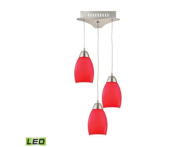 Buro 3 Light LED Pendant In Satin Nickel With Red Glass