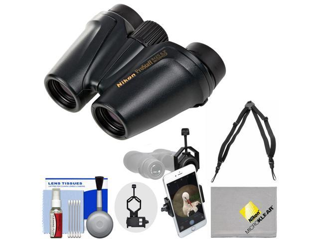 Nikon Prostaff 8x25 Waterproof / Fogproof Binoculars with Case + Harness + Smartphone Adapter + Cleaning Kit