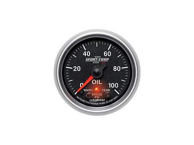 Auto Meter 3652 Sport-Comp PC Oil Pressure Gauge