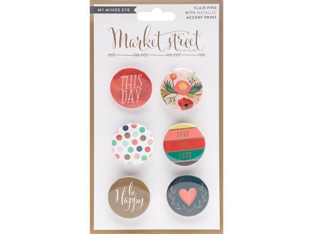 Market Street Flair Button Pins 6/Pkg-Ashbury Heights W/Metallic Accents