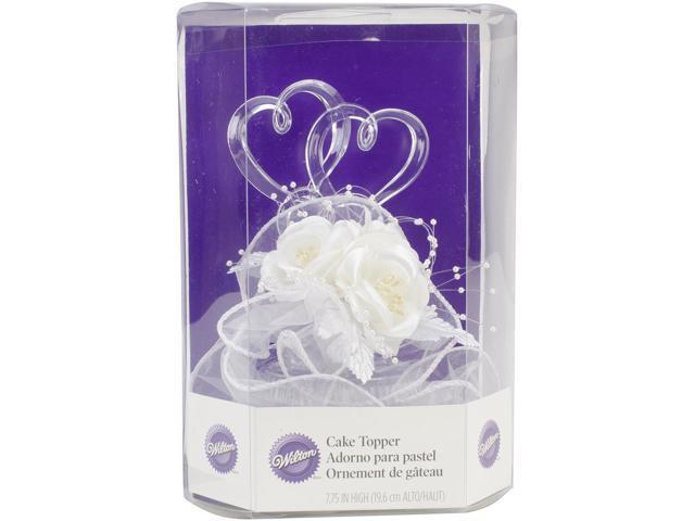 Wilton SIMPLE JOYS WHITE WEDDING CAKE TOPPER Two Hearts