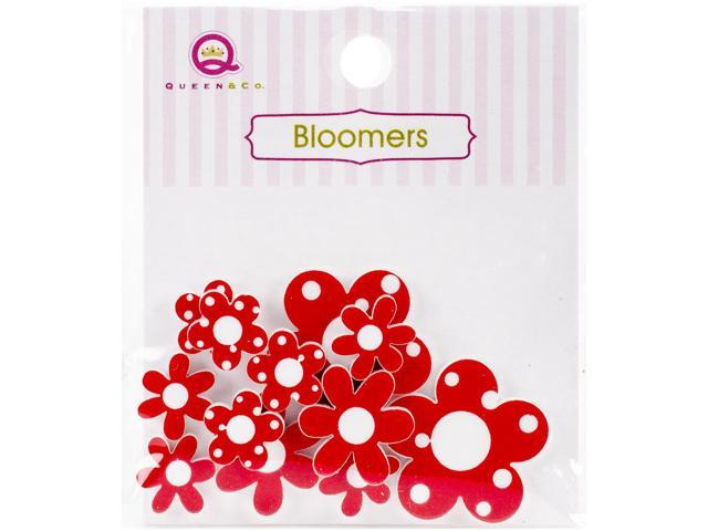 Bloomers Resin Flowers Assorted Sizes 12/Pkg-Red
