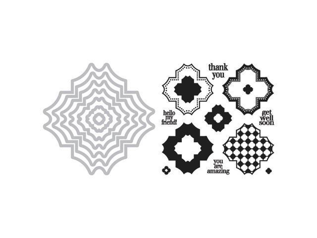 Sizzix Framelits Dies 7/Pkg W/Stamps By Stephanie Barnard-Charming