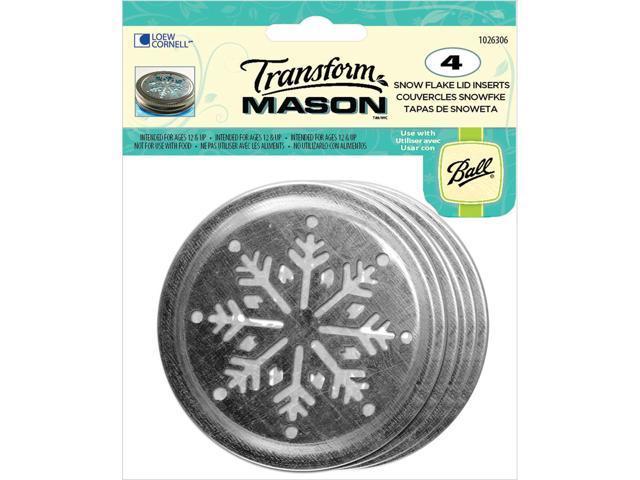 Transform Mason Lid Inserts 4/Pkg-Silver Snowflake