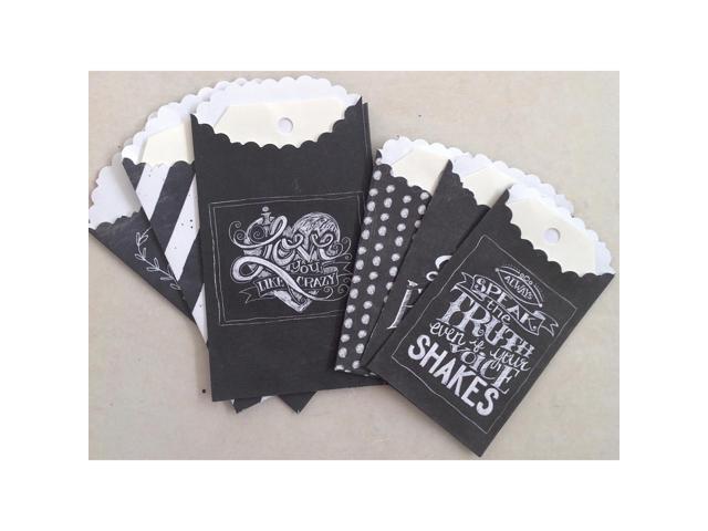 Chalk Talk Paper Bags W/Tags 6/Pkg-Chalkboard 2 Sizes/3 Each