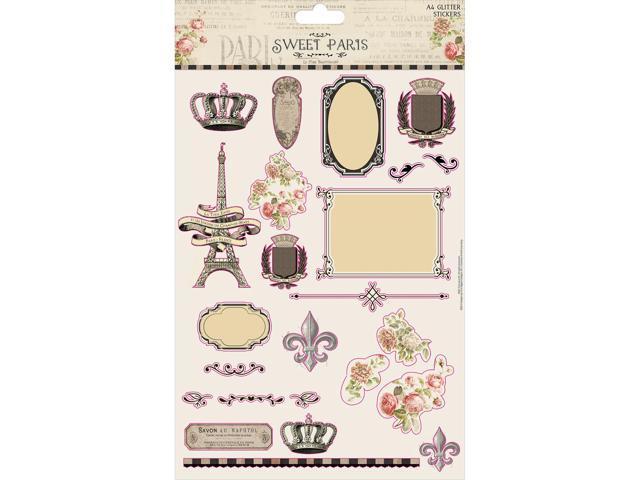 Sweet Paris Glitter Stickers A4-