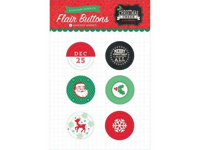 Christmas Cheer Flair Button Pins 6/Pkg-