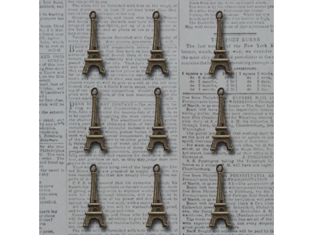 Vintage Metal Charms 9/Pkg-Bronze L'amour Eiffel Tower .3